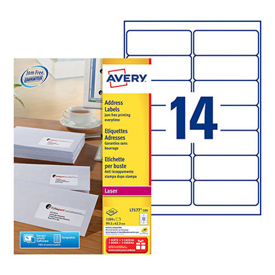 Etiquettes Avery L7177-100 - impression laser - blanc - 99,1 x 42,3 mm - boîte de 1200 (photo)