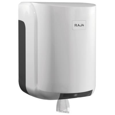 Distributeur de rouleaux de papier toilette à dévidage central - grand format - plastique ABS - verrou - blanc - 310 x 220 x 220 mm (photo)
