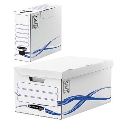 Pack archivage carton : lot de 1 caisse archives maxi + 6 boîtes dos 8 cm - pour format A4 - 210 x 297 mm - H. 23 cm x l. 52 cm x P. 35 cm - blanc / bleu - montage automatique - paquet 7 unités