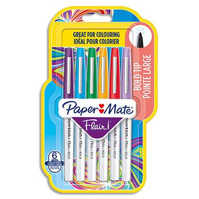 Feutre Papermate flair bold - coloris assortis - blister de 6