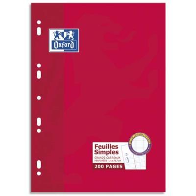 Feuilles mobiles perforées Oxford - 21x29,7 cm - 90 g - grands carreaux - 200 pages