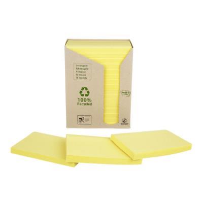 Post-it recyclés - 76 x 127 mm - 100 feuilles - tour 16 blocs - coloris jaune