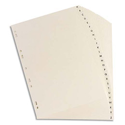 Intercalaires alphabétique Elba - carte rigide 250 g - A4 - 26 positions - blanc mat (photo)