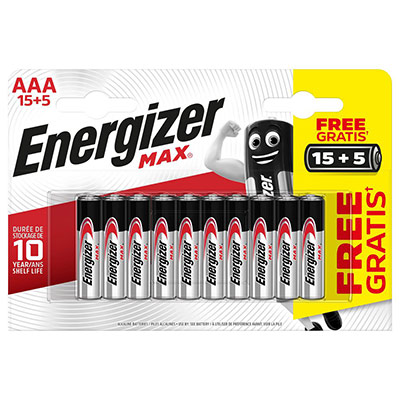Pile alcaline AAA / LR3 Energizer Max - pack Promo 15 + 5 GRATUITES - blister 20 unités