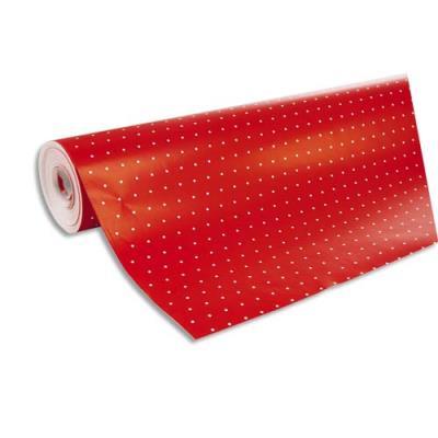 Rouleau de papier cadeau Clairefontaine - 80 g  - 50 x 0,7 m - rouge pois blanc (photo)