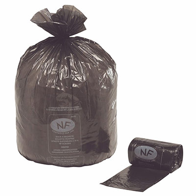 Sacs poubelle NF - 110 L - noir - carton de 250 sacs