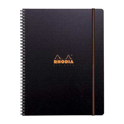 Cahier PROBOOK Rhodia spirale - 22,5x29,7cm - 160 pages lignée 6mm perforées 4 trous - noire polypro