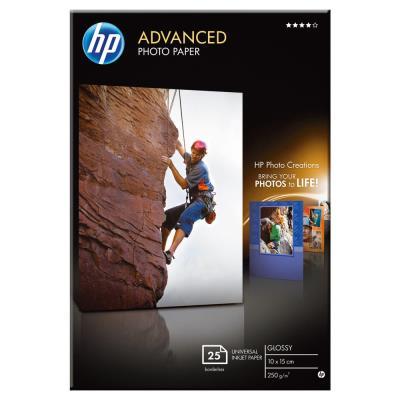 HP Advanced Glossy Photo Paper - Brillant - 100 x 150 mm - 250 g/m² - 100 feuille(s) papier photo - pour Deskjet 2622; Envy 50XX, 76XX; Officejet 52XX, 80XX; Photosmart B110, Wireless B110 (photo)