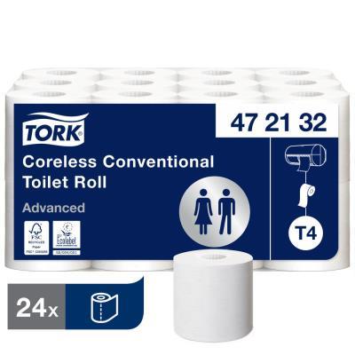 Rouleaux papier toilette Tork Compact Universal - sans mandrin - 2 plis - lot de 24 rouleaux