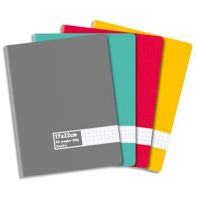 Cahier piqûre - 17x22 cm - grands carreaux - 96 pages - 60g - couverture carte assortie
