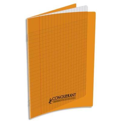 Cahier piqûre Conquérant classique - couverture polypropylène - 90 g - 17 x 22 - 32 pages - Seyès - orange