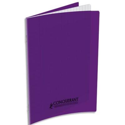 Cahier piqûre Conquérant classique - couverture polypropylène - 90 g - 17 x 22 - 32 pages - Seyès - violet