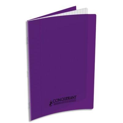 Cahier piqûre Conquérant classique - couverture polypropylène - 90 g - 17 x 22 - 48 pages - Seyès - violet