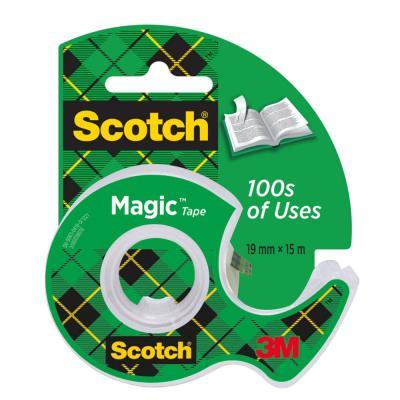 Ruban adhésif invisible Scotch Magic Tape - 19 mm x 15 m - sur dévidoir plastique