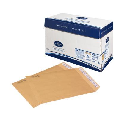 Pochette cellulose et kraft La Couronne - 330 x 260 mm - 90 g/m² fermeture autocollante - kraft blond - paquet 250 unités