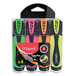 Surligneurs Maped Fluo'Peps Ultrasoft - vert, rose, jaune, orange - sous pochette
