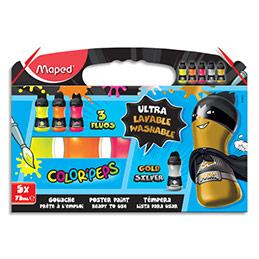 Gouache ultralavable Maped Color'Peps - couleurs : 3 fluos + 2 métal - lot de 5 bouteilles de 75 ml