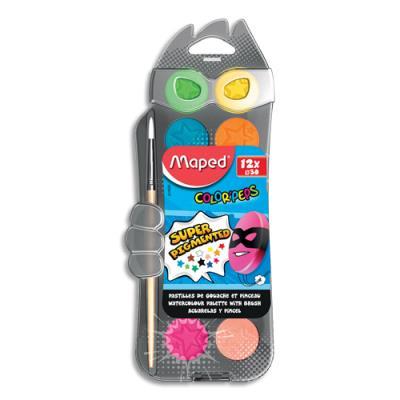 Gouache ultralavable Maped Color'Peps - boîte de 12 pastilles de 30 mm