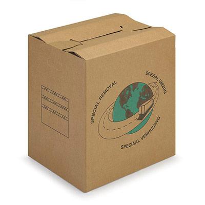 Caisse carton brune - double cannelure - avec poignées - L.65 x l.35 x H.37 cm (photo)