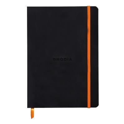 Carnet souple Rhodiarama - 14,8 x 21 - 160 pages - ligné - avec élastique - couverture simili-cuir noir