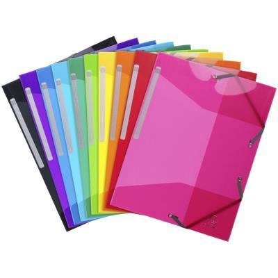 Chemise Exacompta 3 rabats à élastiques - en polypropylène 5/10e - coloris assortis translucide