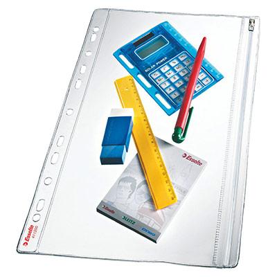 Pochette de protection étanche Esselte pour documents - A4 - PVC 200 microns - 11 trous - transparent - lot de 5