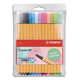 Feutres d'écriture Stabilo Point 88 - coloris pastel assortis - pochette de 15