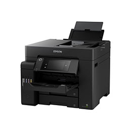 Epson EcoTank ET-5850 - Imprimante multifonctions - couleur - jet d'encre - A4 (210 x 297 mm) (original) - A4 (support) - jusqu'à 25 ppm (impression) - 550 feuilles - 33.6 Kbits/s - USB 2.0, LAN, Wi-Fi(ac) - noir (photo)