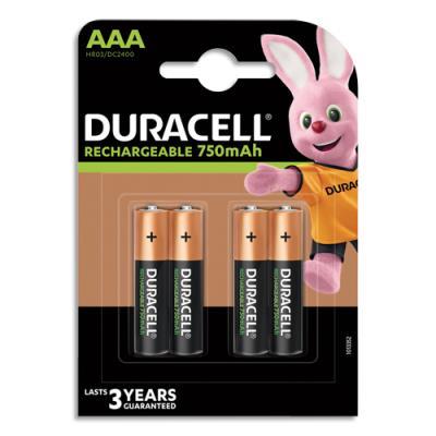 Piles rechargeables AAA / HR3 Duracell - 1,2V - blister de 4