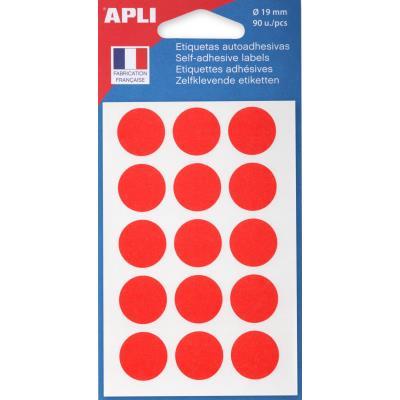 Pastilles adhésives de couleur Agipa - Ø 19 mm - pochette de 90 - coloris rouge
