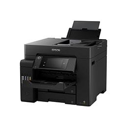 Epson EcoTank ET-5800 - Imprimante multifonctions - couleur - jet d'encre - A4 (210 x 297 mm) (original) - A4 (support) - jusqu'à 32 ppm (impression) - 550 feuilles - 33.6 Kbits/s - USB 2.0, LAN, Wi-Fi(ac) - noir (photo)