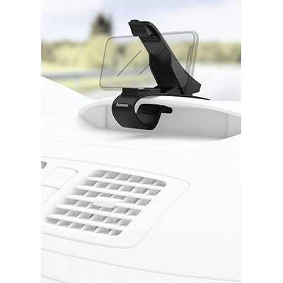 Support à pince universel pour smartphone de largeur jusqu'à 9 cm pour tableau de bord - noir