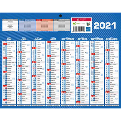 Calendrier 2020 mural septembre à décembre - format mini - 8 mois par face (photo)