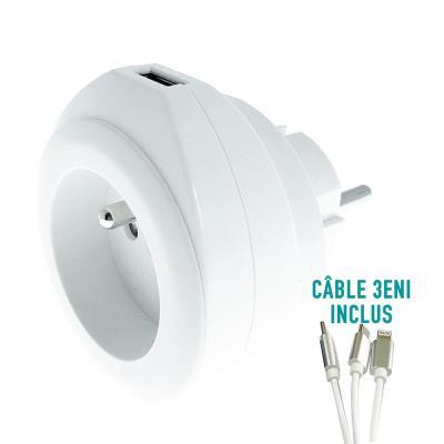 Chargeur universel mural USB pour smartphone et tablette Watt&Co - avec câble 3 en 1 rétractable - blanc