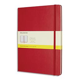 Carnet Moleskine - 192 pages 5x5 - très grand format 19 x 25cm - couverture rigide rouge écarlate (photo)