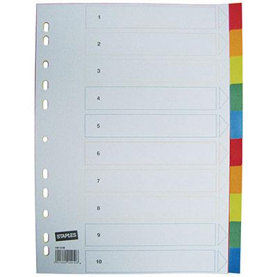 Intercalaires neutres A4 en polypropylène - 10 divisions - blanc touches colorées - jeu 10 feuilles