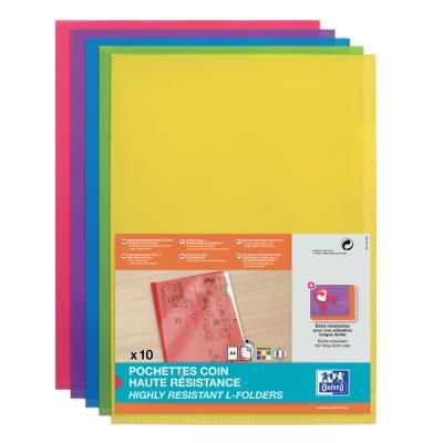 Pochette coin Elba en PVC 15/100 e - A4 - coloris assortis acidulés - sachet de 10