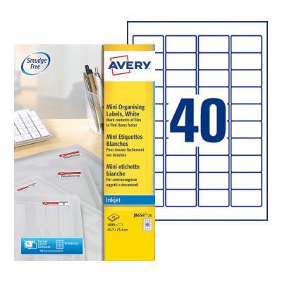 Mini Étiquettes auto-adhésives d'adresses Avery - 45,7 x 25,4 mm - 25 feuilles - 40 Étiquettes par feuilles A4 - blanches - paquet 1000 unités