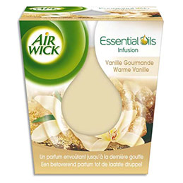 Bougie Air Wick Essential Oils - parfum vanille gourmande - dure jusqu'à 30h (photo)