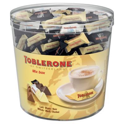 Boîte de 900g de minis Toblerone 3 variétés : chocolat au lait, noir ou blanc - sachets individuels de 6 g