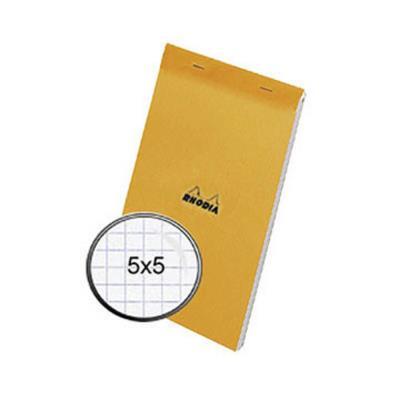 Bloc Rhodia - 80 g - 14,8 x 21cm - Couverture Orange - petits carreaux - 80 feuilles microperforées détachables - (photo)