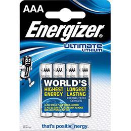 Piles Energizer Ultimate lithium AAA - blister de 4 piles - 2ème blister à -50%