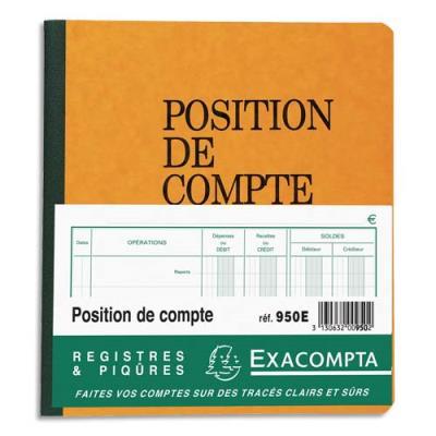 Piqûre Exacompta - 21 x 19 cm - position de compte - 80 pages folioté (photo)