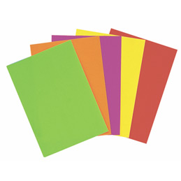 Feuilles affiche fluo - 90 g - A4 - 5 couleurs assorties - paquet de 50 (photo)