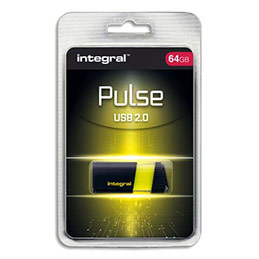 Clé USB 2.0 Integral Pulse - 64 Go - jaune (photo)