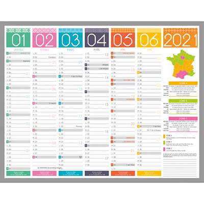 Calendrier Tendance CBG - 6 mois par face - 43 x 55 cm (photo)