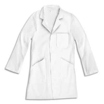 Blouse à manches longues en tissu 100% Coton - 3 poches - taille XS - blanche (photo)