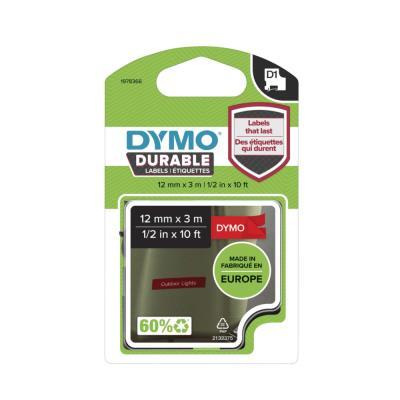Ruban Dymo D1 durable - blanc/rouge - 12 mm x 3 m
