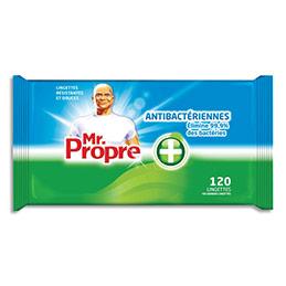 Lingettes antibactériennes Mr Propre - éliminent les bactéries - paquet de 120 (photo)