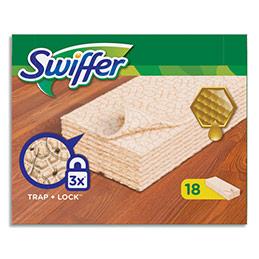 Lingettes sèches dépoussiérantes - spécial bois et parquets - pour balai Swiffer - boîte de 18 (photo)